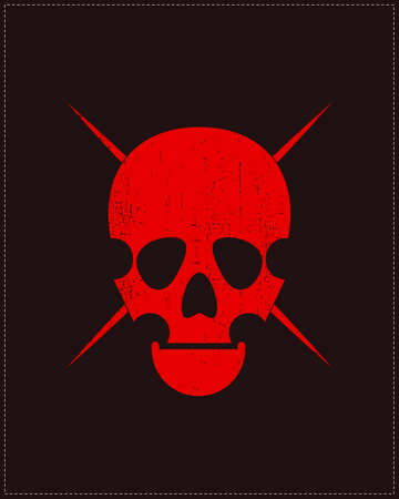 mort: Red Skull on grunge background