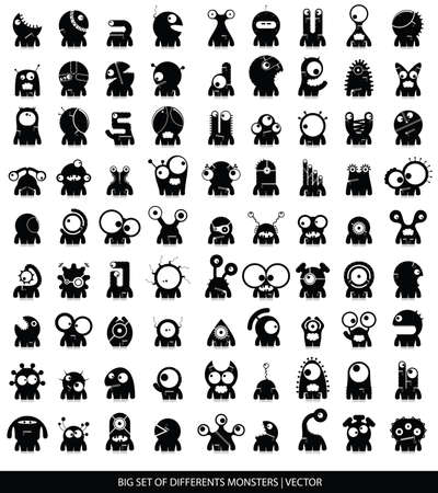 Big set of cute monsters isolated on white  vector