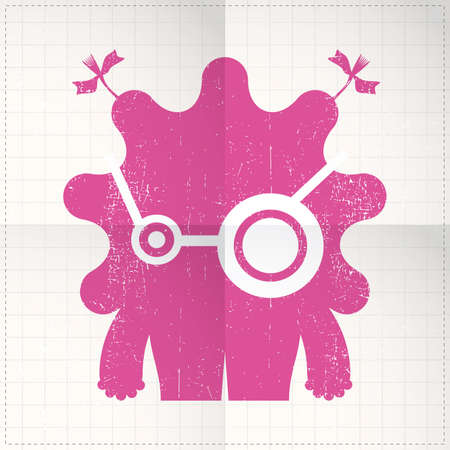 papier pli�: Monstre mignon sur papier pli� Illustration