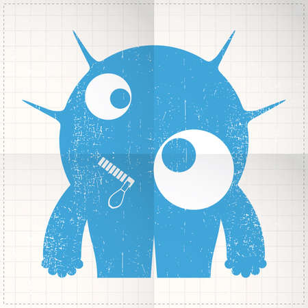 Cute monster on folded paper Vector