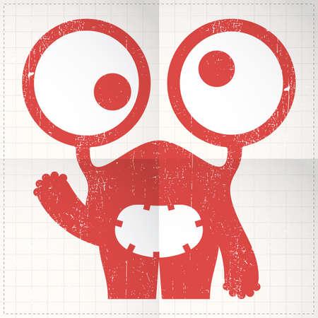 Cute monster on folded paper Stock Vector - 27138420