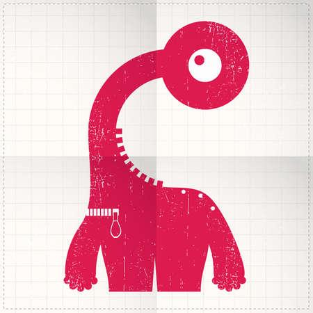Cute monster on folded paper Stock Vector - 27138427