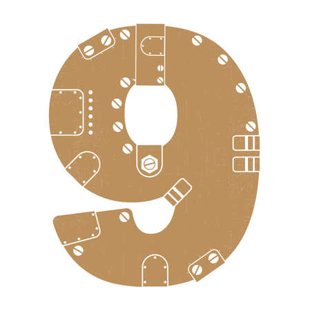 Grunge number 9 in steam-punk style isolated on white Vector