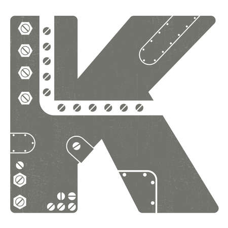 grunge letter K isolated on white  Steam-punk Vector