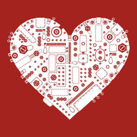 Steam-punk heart on red background Vector