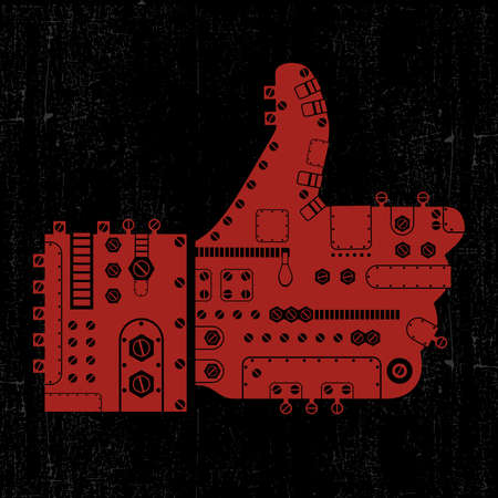 Steam-punk like icon on grunge background Vector