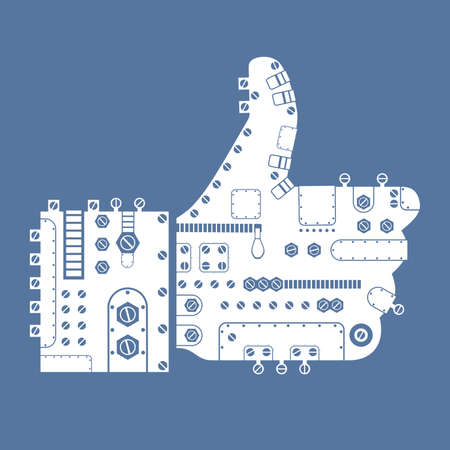 Steam-punk like icon on blue background