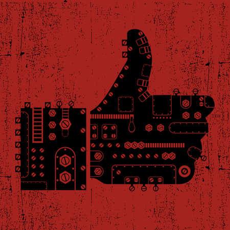Steam-punk like icon on grunge background