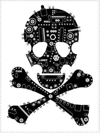 mort: Black steam-punk skull isolated on white  vector illustration