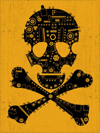 Black steam-punk skull on grunge background  vector illustration Vector