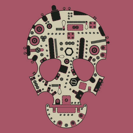 mort: Steam-punk skull on pink background  vector illustration