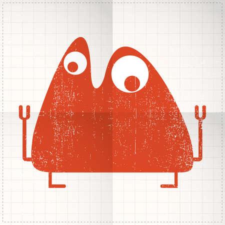 Cute monster on folded paper Vector