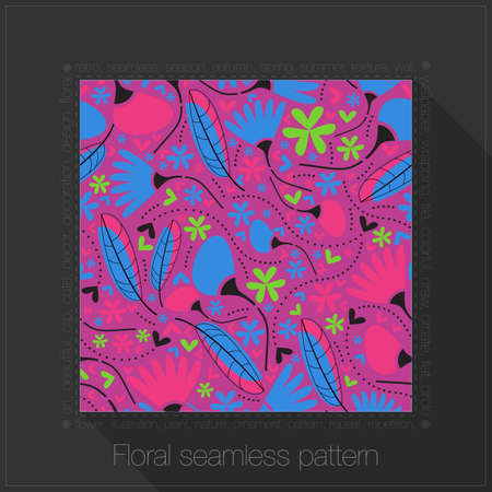 Floral seamless pattern in text frame Vector