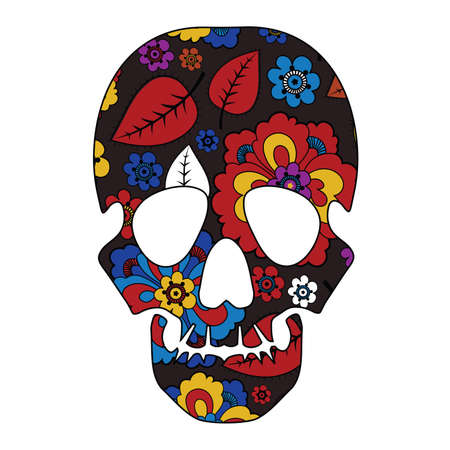 Floral skull isolated on white Vector