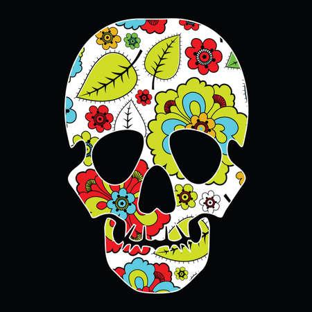 Floral skull on black background Vector