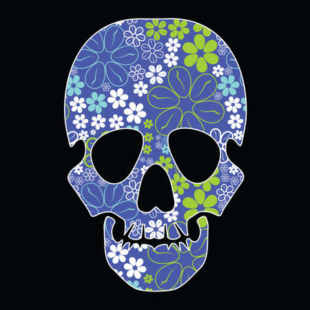 mort: Floral skull on black background Illustration
