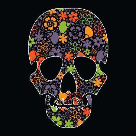 Floral skull on black background Vector