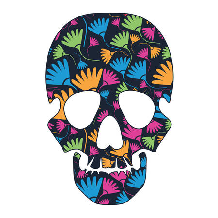 mort: Floral skull isolated on white