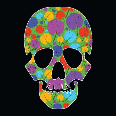 black grunge background: Floral skull on black grunge background Illustration