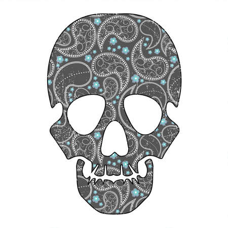 mort: Floral skull on white grunge background