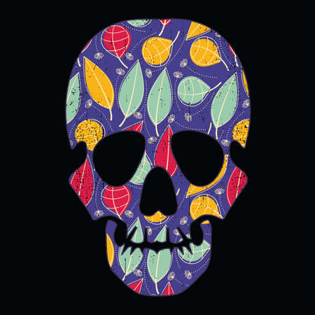 mort: Floral skull on black grunge background Illustration