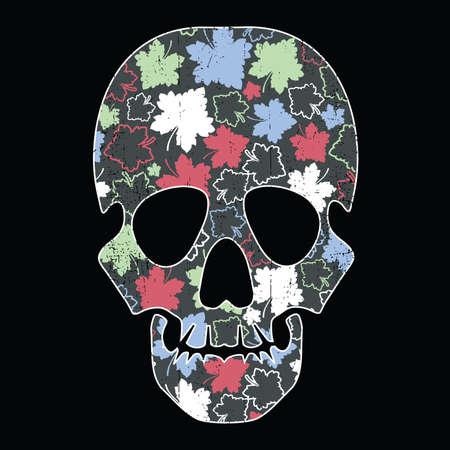 black grunge background: Floral skull isolated on black grunge background