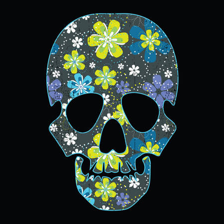 Floral skull isolated on black grunge background Vector
