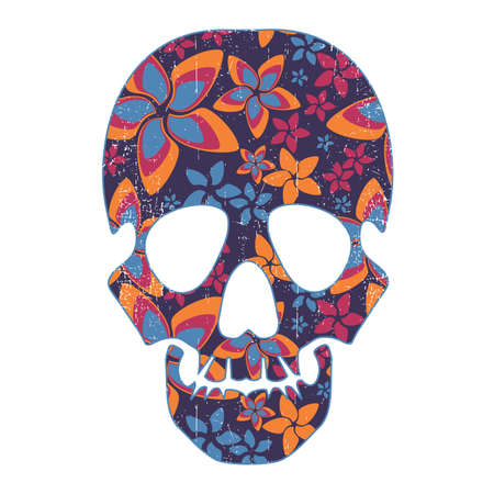 Floral skull isolated on white Stock Vector - 28476226