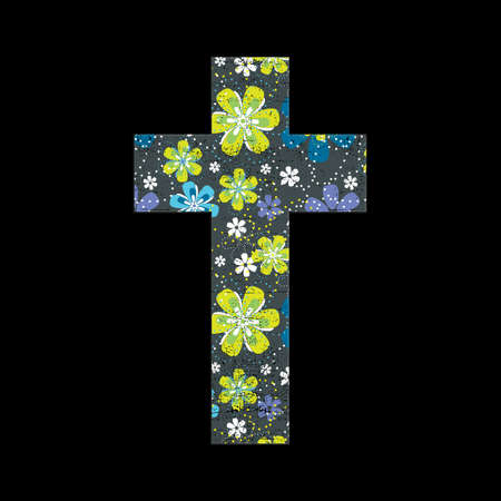 Floral cross on black grunge background Vector