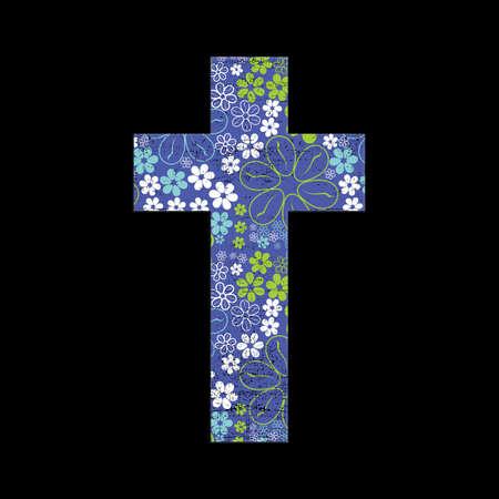 black grunge background: Floral cross on black grunge background Illustration