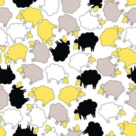 Sheep - seamless pattern Vector