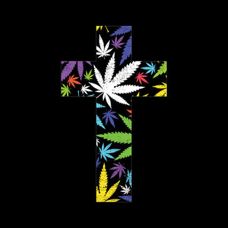 miracle leaf: Cannabis leafs and cross on black grunge background Illustration