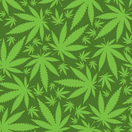 marijuana leaf: Cannabis leafs - seamless pattern