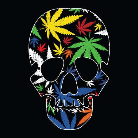 Cannabis leafs and skull on black grunge background Ilustração
