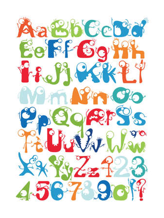 Alphabet with funny monsters Vector