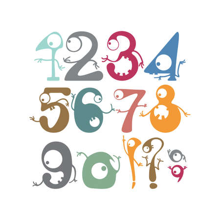 Numbers with funny monsters Vector