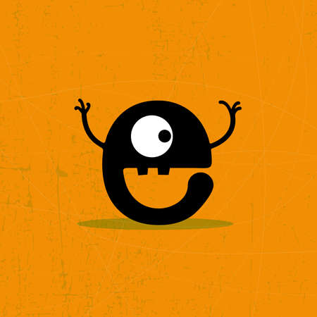 Letter e Monster on grunge background  vector illustration Vector
