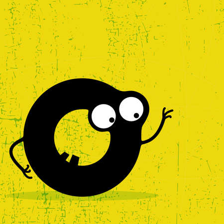 Letter O Monster on grunge background  vector illustration Vector
