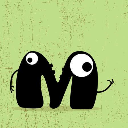 Letter M Monster on grunge background  vector illustration Vector