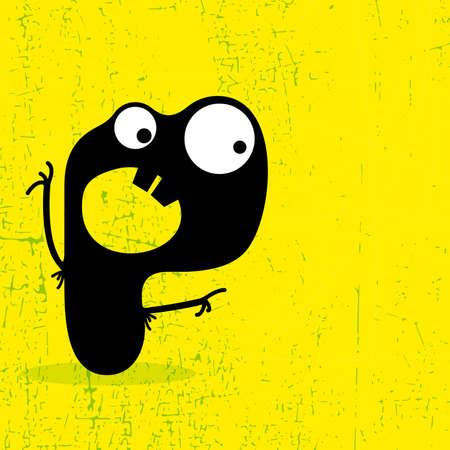 Letter P Monster on grunge background  vector illustration Vector