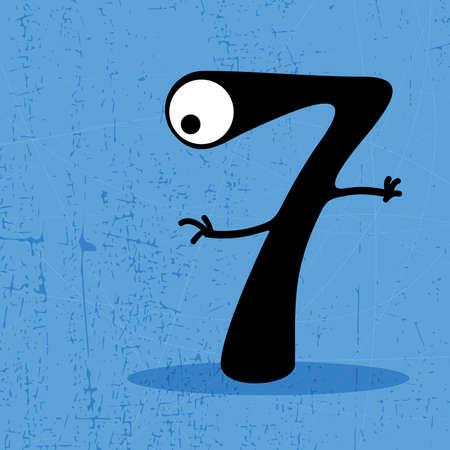 Number 7 Monster on grunge background  vector illustration Vector