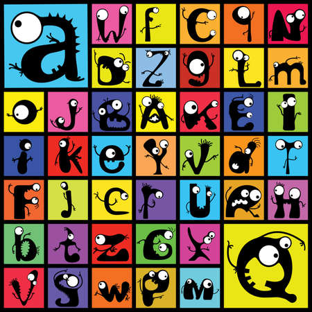 Set of cute monster alphabet   Vector