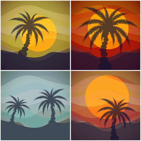 Set of four tropical view.  Vector illustration Vector