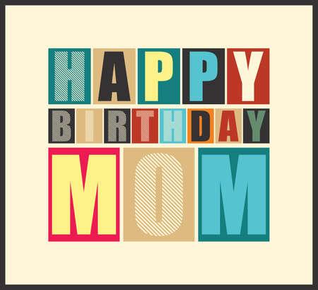 happy birthday cartoon: Retro Happy birthday card  Vector illustration