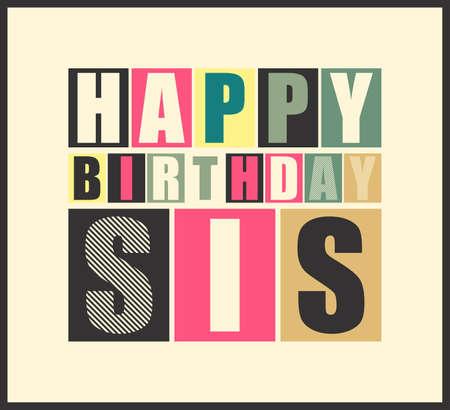 happy birthday girl: Retro Happy birthday card  Vector illustration