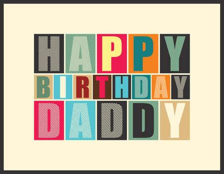 cartoon dad: Retro Happy birthday card  Vector illustration
