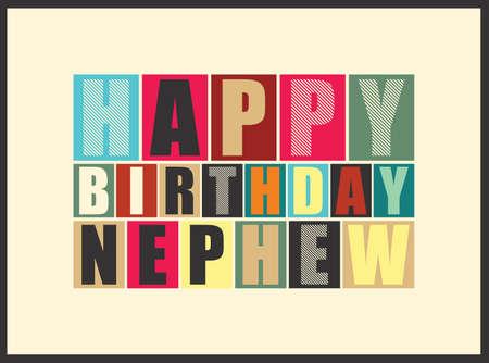 Retro Happy birthday card  Vector illustration