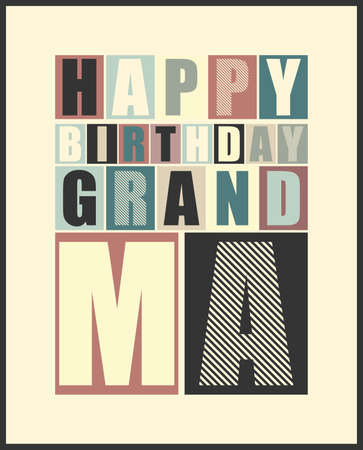 Retro Happy birthday card   Vector illustration Vector