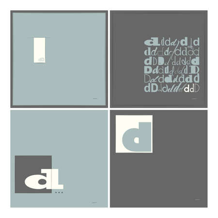 caligraphic: Stylish alphabet in frames  Letter D  Typographic elements  vector illustration