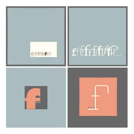 caligraphic: Stylish alphabet in frames  Letter F  Typographic elements  vector illustration Illustration